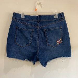 embroidered denim high-wasted shorts